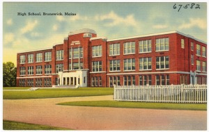 Brunswick High School circa 1930-1945.  Image Source: The Tichnor Brothers Collection| Boston Public Library, Print Department